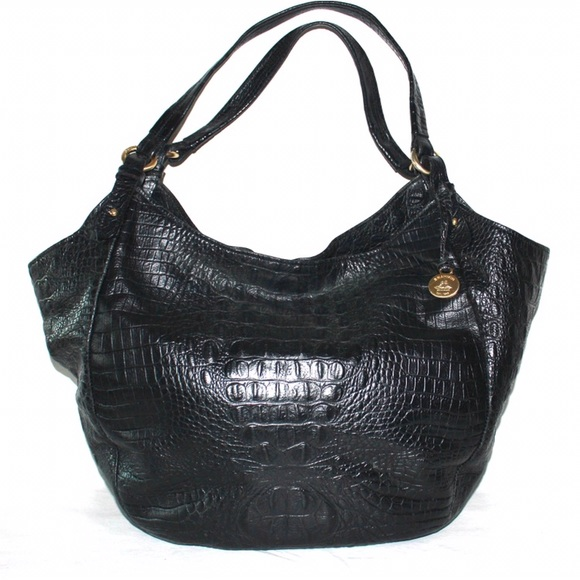 Brahmin Handbags - Brahmin Black Leather Croc Embossed Shoulder Bag